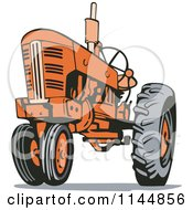 Clipart Of A Retro Orange Tractor 1 Royalty Free Vector Illustration