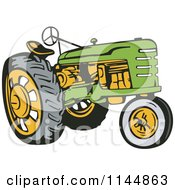 Clipart Of A Retro Green Tractor Royalty Free Vector Illustration