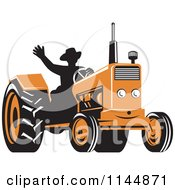 Clipart Of A Retro Silhouetted Farmer Waving And Operating An Orange Tractor Royalty Free Vector Illustration