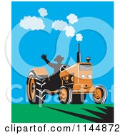 Clipart Of A Retro Silhouetted Farmer Waving And Operating An Orange Tractor On A Field Royalty Free Vector Illustration