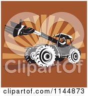 Clipart Of A Retro Man Operating A Black And White Armed Tractor Over Brown Rays Royalty Free Vector Illustration