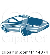 Clipart Of A Retro Blue Sports Car Royalty Free Vector Illustration