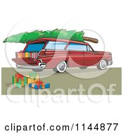 Retro Red Station Wagon With A Christmas Tree And Gifts