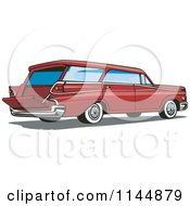 Clipart Of A Retro Red Station Wagon Royalty Free Vector Illustration by patrimonio