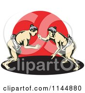 Clipart Of A Sumo Wrestling Match Over Red Royalty Free Vector Illustration
