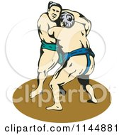 Clipart Of A Sumo Wrestling Match 3 Royalty Free Vector Illustration by patrimonio