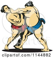 Clipart Of A Sumo Wrestling Match 2 Royalty Free Vector Illustration by patrimonio