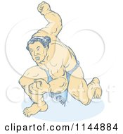 Faded Sumo Wrestler Holding Up A Fist