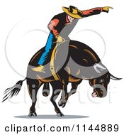 Clipart Of A Retro Rodeo Cowboy On A Bucking Bull 3 Royalty Free Vector Illustration