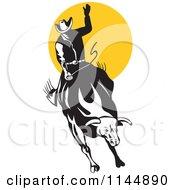 Poster, Art Print Of Retro Rodeo Cowboy On A Bucking Bull 1