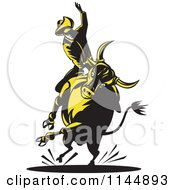 Clipart Of A Retro Rodeo Cowboy On A Bucking Bull 5 Royalty Free Vector Illustration