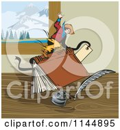 Clipart Of A Rodeo Cowboy Riding A Book Royalty Free Vector Illustration by patrimonio
