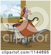 Poster, Art Print Of Rodeo Cowboy Riding A Book