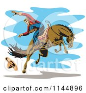Clipart Of A Retro Rodeo Cowboy On A Bucking Horse 4 Royalty Free Vector Illustration