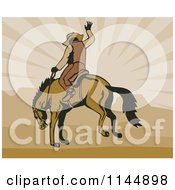 Clipart Of A Retro Rodeo Cowboy On A Bucking Horse 3 Royalty Free Vector Illustration
