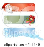 Santa Mistletoe And Snowflake Banners Or Labels For Christmas