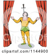 Clipart Of A Retro Circus Act Sword Swallower Royalty Free Vector Illustration by patrimonio