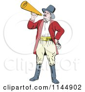 Clipart Of A Circus Ringmaster Announcing With A Bullhorn Royalty Free Vector Illustration by patrimonio