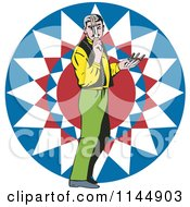 Clipart Of A Knife Thrower In Front Of A Sun Design Royalty Free Vector Illustration