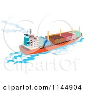 Clipart Of A Cargo Carrier Ship With Containers 2 Royalty Free Vector Illustration
