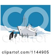 Clipart Of A Ship With Penguins In The Arctic Royalty Free Vector Illustration by patrimonio