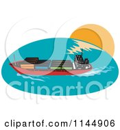 Clipart Of A Cargo Carrier Ship With Containers 1 Royalty Free Vector Illustration