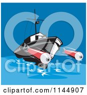 Clipart Of A Battleship Launching Torpedoes Royalty Free Vector Illustration by patrimonio