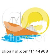 Clipart Of An Orange Cargo Ship Against The Sun Royalty Free Vector Illustration