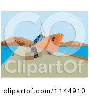 Clipart Of A Cargo Ship At Dock Royalty Free Vector Illustration