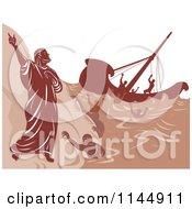 Clipart Of A Ship Wreck Survivors Climbing Coastal Rocks Near Saint Paul Royalty Free Vector Illustration