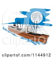 Clipart Of A Retro Cargo Carrier Ship At Night Royalty Free Vector Illustration