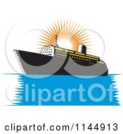 Clipart Of A Retro Cruise Ship And Orange Sun Royalty Free Vector Illustration