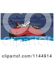 Clipart Of A Red Ship Wrecking Royalty Free Vector Illustration