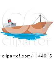 Clipart Of A Tanker Ship Royalty Free Vector Illustration
