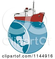Clipart Of A Retro Cruise Ship On Earth Royalty Free Vector Illustration by patrimonio