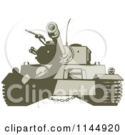 Clipart Of A Military Tank 4 Royalty Free Vector Illustration