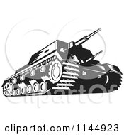 Clipart Of A Military Tank In Black And White Royalty Free Vector Illustration by patrimonio
