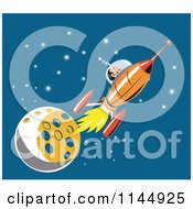 Clipart Of An Astronaut And Rocket By The Moon Royalty Free Vector Illustration by patrimonio