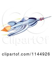 Clipart Of A Retro Blue Space Rocket 2 Royalty Free Vector Illustration