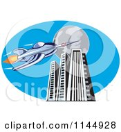 Clipart Of A Retro Blue Space Rocket With Skyscrapers And A Full Moon Royalty Free Vector Illustration