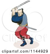 Clipart Of A Ninja Fighting With A Katana Sword Royalty Free Vector Illustration by patrimonio