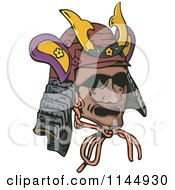 Clipart Of A Samurai Warrior Mask Royalty Free Vector Illustration