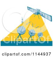 Clipart Of A Retro Space Satellite Communicating With Dishes Royalty Free Vector Illustration
