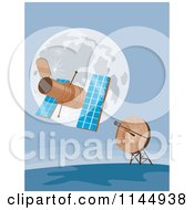 Clipart Of A Space Satellite Communicating With A Dish Royalty Free Vector Illustration by patrimonio