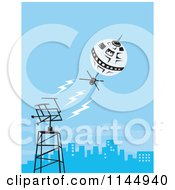Clipart Of A Retro Space Satellite Communicating With A City Dish Royalty Free Vector Illustration by patrimonio