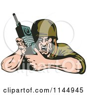 Clipart Of An Army Soldier Using Radio Royalty Free Vector Illustration by patrimonio