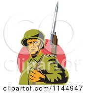 Clipart Of An Army Soldier With A Bayonet Royalty Free Vector Illustration