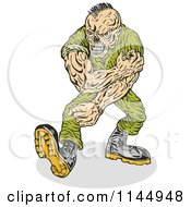 Clipart Of A Mad Zombie Soldier Rolling Up His Sleeve Royalty Free Vector Illustration by patrimonio