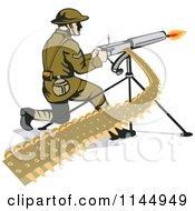 Clipart Of An Army Soldier Shooting A Machine Gun Royalty Free Vector Illustration by patrimonio