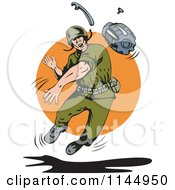 Clipart Of An Army Soldier Throwing A Grenade Royalty Free Vector Illustration by patrimonio